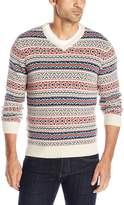 Izod Men's Fairisle Vneck Sweater