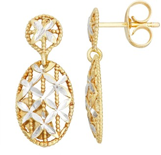 Primavera Two-Tone 24k Gold & Sterling Silver Textured Oval Drop Earrings