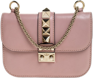 Valentino Pink Leather Small Glam Lock Chain Shoulder Bag