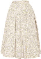 Natasha Zinko Midi Cotton Striped Skirt With Florals