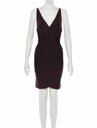 Herve Leger V-Neck Mini Dress Purple