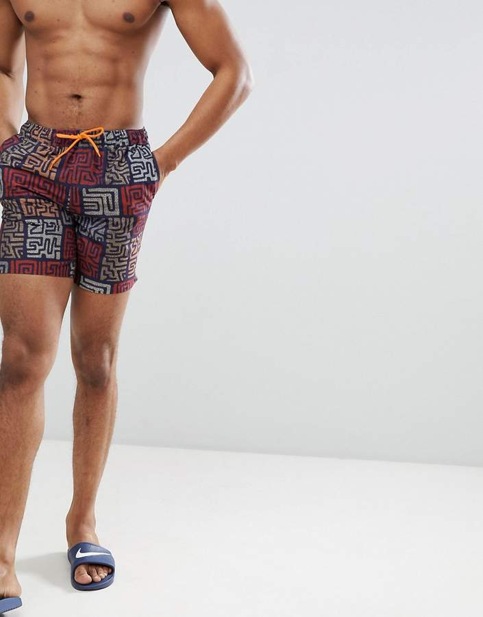 Asos Design Swim Shorts With Tile Print In Mid Length