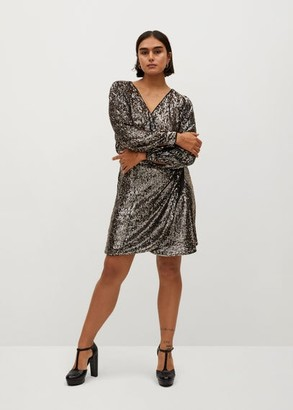MANGO Sequin wrap dress
