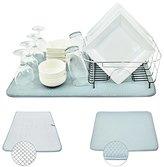 "Houseables Dish Drying Rack Mat, Microfiber, 24"" x 18"", X-Large, Reversible, Kitchen Pad, Gray"