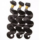 Connie Hair Malaysian Remy Hair Body Wave 3 Bundles Grade 7A Unprocessed Human Weave Weft Mixed Length(20 20 20)Natural Black Total 300g