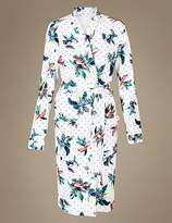 Marks and Spencer Pure Cotton Parrot Print Waffle Dressing Gown