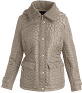 Weatherproof Cement Knit-Collar Quilted Puffer Coat