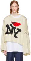 Raf Simons White Oversized 'I Love NY' Sweater