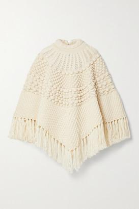 Saint Laurent Fringed Wool Poncho - Off-white