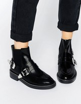 Asos ANTARES Leather Chelsea Western Ankle Boots