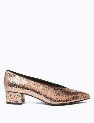 M&S CollectionMarks and Spencer Glitter Block Heel Pointed Toe Court Shoes