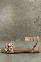 Jocasa Blush Suede Fringe Flat Sandals