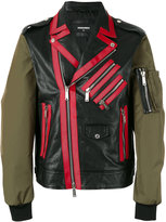 DSQUARED2 contrast sleeve Chiodo jacket - men - Calf Leather/Polyester - 48