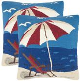 "Safavieh Beach Lounge Pillows, Set of 2, 20""x20"""