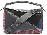 Loewe Puzzle Tartan Leather Satchel Bag, Black