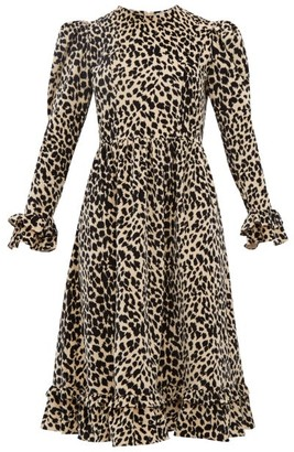 Batsheva Leopard Print Cotton Velvet Dress - Womens - Leopard