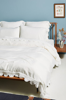 Anthropologie Tranquility Linen Blend Duvet Cover By in White Size Q top/bed