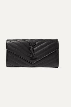 Saint Laurent Monogramme Quilted Textured-leather Wallet - Black