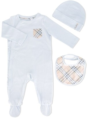 BURBERRY KIDS Check Cotton Three-piece Baby Set