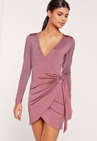 Missguided Silky Wrap Tie Waist Shirt Dress Purple