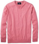 Charles Tyrwhitt Pink Cotton Cashmere Crew Neck Cotton/cashmere Sweater Size Large