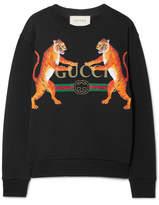 Gucci Oversized Printed Cotton-jersey Sweatshirt - Black
