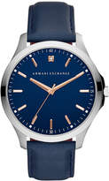Armani Exchange Men's Blue Leather Strap Watch 46mm