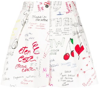 MSGM Doodle Print Pleated Shorts