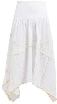 See by Chloe Floral-embroidered Cotton Midi Skirt - Womens - Ivory