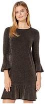 MICHAEL Michael Kors Sparkle Stripe Flounce Dress (Black/Gold) Women's Dress