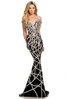 Johnathan Kayne 7246 Crystal Embellished Off Shoulder Overskirt Gown