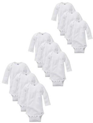 Gerber Baby Boy or Girl Gender Neutral Organic Long Sleeve Onesies Grow-With-Me Bodysuits, 9-Piece