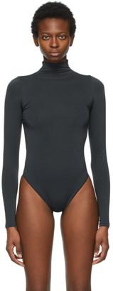 SKIMS Black Essential Mock Neck Long Sleeve Bodysuit
