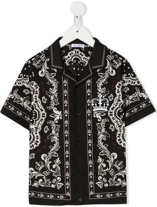 Dolce & Gabbana Kids Bandana Print Shirt