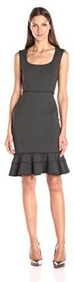 Nanette Lepore Women's Slvls Ponte Dress W/Flounce Hem and Whip Stitch Detail
