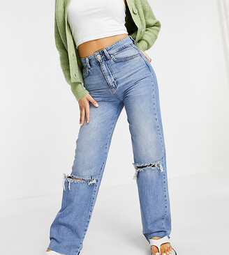 Stradivarius straight leg 90s jeans with rips in blue
