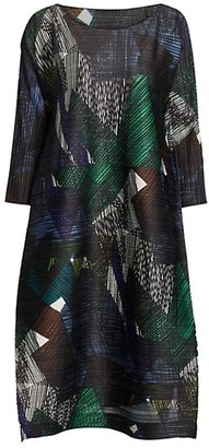 Pleats Please Issey Miyake Andante Printed Shift Dress