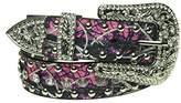 Pink Camo Belt - Women's Western Cowgirl Rhinestone Studded Bling Belt with Buckle
