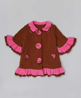 Paperdoll Brown & Pink Fleece Ruffle Coat - Toddler & Girls
