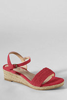 Lands' End Women's Wide Pippa Suede Braided Espadrille Shoes-Spice Brown