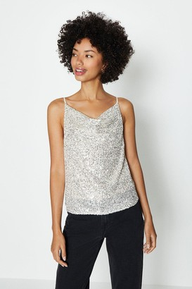 Coast Strappy Sequin Cowl Neck Cami