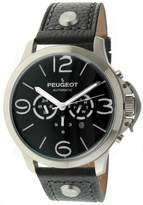 Peugeot Automatic MK912SBK Men's Silver Stainless Steel Multifunction Leather Watch