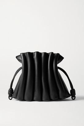 Loewe Flamenco Ondas Pleated Leather Clutch - Black