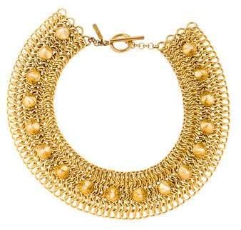 Eddie Borgo Chain Mail & Pyramid Spike Collar Necklace