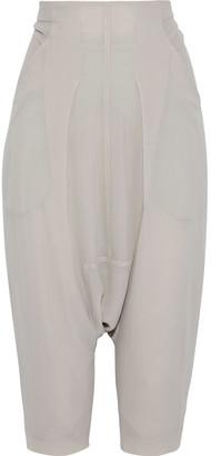 Rick Owens Swing Cropped Jersey-paneled Silk-crepe Harem Pants