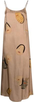 UMA WANG Faces-Print Slip Dress