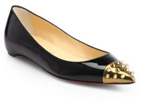 Christian Louboutin Geo Patent Leather & Spiked Cap-Toe Ballet Flats