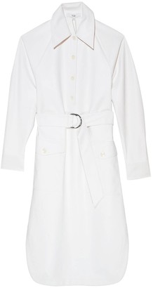 Tibi Faux Leather Shirtdress in White