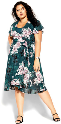 City Chic Blossom Short Sleeve Dress - jade