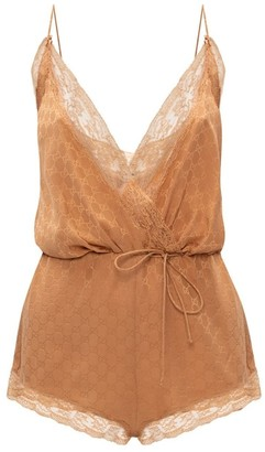 Gucci Cream Cashew Silk Slip Bodysuit